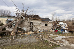 Tornado aftermath in Henryville, Indiana. Henryville, IN – March 4, 2012: Aftermath of category 4 tornado that touched down in town on March 2, 2012 in Royalty Free Stock Photography