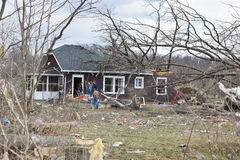 Tornado aftermath in Henryville, Indiana. Henryville, IN – March 4, 2012: Aftermath of category 4 tornado that touched down in town on March 2, 2012 in Stock Photo
