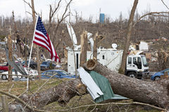 Tornado aftermath in Henryville, Indiana. Henryville, IN - March 4, 2012: Aftermath of category 4 tornado that touched down in town on March 2, 2012 in Stock Photo