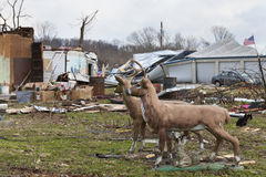 Tornado aftermath in Henryville, Indiana. Henryville, IN - March 4, 2012: Aftermath of category 4 tornado that touched down in town on March 2, 2012 in Royalty Free Stock Photography