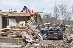 Tornado aftermath in Henryville, Indiana. Henryville, IN - March 4, 2012: Aftermath of category 4 tornado that touched down in town on March 2, 2012 in Stock Images