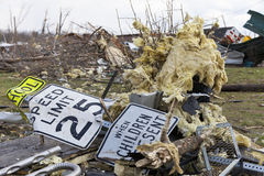 Tornado aftermath in Henryville, Indiana. Henryville, IN - March 4, 2012: Aftermath of category 4 tornado that touched down in town on March 2, 2012 in Royalty Free Stock Image