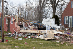Tornado aftermath in Henryville, Indiana. Henryville, IN - March 4, 2012: Aftermath of category 4 tornado that touched down in town on March 2, 2012 in Stock Photos
