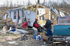 Tornado aftermath in Henryville, Indiana. Henryville, IN - March 4, 2012: Aftermath of category 4 tornado that touched down in town on March 2, 2012 in Stock Photography