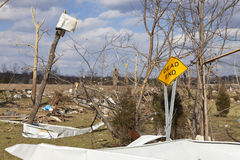 Tornado aftermath in Henryville, Indiana. Henryville, IN - March 4, 2012: Aftermath of category 4 tornado that touched down in town on March 2, 2012 in Royalty Free Stock Photo