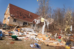 Tornado aftermath in Lapeer, MI. LAPEER COUNTY, MI - MARCH 16: A home heavily damaged by an F2 tornado that swept through Oregon Twp in Lapeer County, MI on stock photography