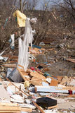 Tornado aftermath in Lapeer, MI. LAPEER COUNTY, MI - MARCH 16: A home heavily damaged by an F2 tornado that swept through Oregon Twp in Lapeer County, MI on royalty free stock photography