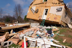 Tornado aftermath in Lapeer, MI. LAPEER COUNTY, MI - MARCH 16: A home heavily damaged by an F2 tornado that swept through Oregon Twp in Lapeer County, MI on stock photos