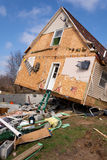 Tornado aftermath in Lapeer, MI. LAPEER COUNTY, MI - MARCH 16: A home heavily damaged by an F2 tornado that swept through Oregon Twp in Lapeer County, MI on royalty free stock photo