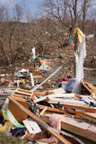 Tornado aftermath in Lapeer, MI. LAPEER COUNTY, MI - MARCH 16: A home heavily damaged by an F2 tornado that swept through Oregon Twp in Lapeer County, MI on stock image