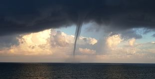 Tornado Approaching Coastline royalty free stock photo