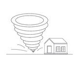 Tornado. Catastrophic natural phenomenon destroying houses. Disaster. Vector illustration Stock Photo