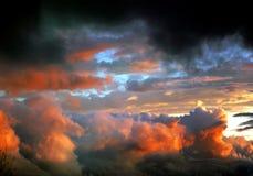 After tornado clouds. At sunset stock photos