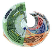 Tornado of colorful euro isolated, savings wealth. Money rotation (hurricane, tornado revolution). Pile of different grunge (grungy) colourful money (savings in Stock Photos