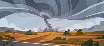 Tornado In Countryside Hurricane Landscape Of Storm Twister  Royalty Free Stock Photo