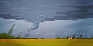 Tornado In Countryside Hurricane Landscape Of Storm Twister  Royalty Free Stock Photos