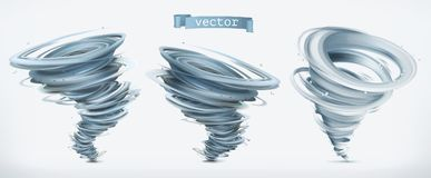 Tornado. 3d vector icon set Stock Photos