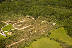 Tornado damage. To old world wisconsin. cyclonic pattern visible in fallen trees Stock Photos