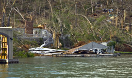 Tornado Damage. CLAYTON, GA, USA, APRIL 28 :  Tornado damage on Lake Burton on April 28, 2011, in Rabun County, Clayton, GA.  Extensive damage to many large Stock Photography