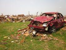 Tornado damage wrecked car Stock Photography