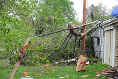 Tornado Damage In Saint Louis. SAINT LOUIS, MISSOURI - APRIL 23: Damaged homes with tarp-covered roofs after tornadoes hit the Maryland Heights area on Friday Royalty Free Stock Images