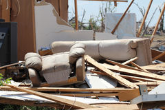 Tornado damaged home and belongings. Royalty Free Stock Images