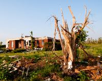 Tornado-damaged land and home in northern Alabama Royalty Free Stock Image