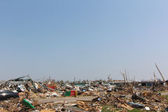 Tornado damaged landscape, nothing but rubble. Royalty Free Stock Image