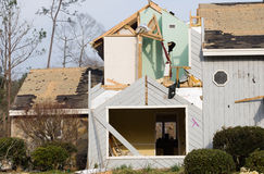 Tornado Damaged Wood and Stone Framed House Royalty Free Stock Photos