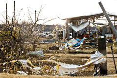 Tornado Damages Industrial Building. A Large Tornado touched down in Edmond, OK on Feb 10, 2008 Stock Photos