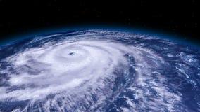 Tornado de la tormenta del huracán sobre la tierra del espacio, visión por satélite almacen de metraje de vídeo