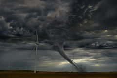 Tornado Descending on Windmill Farm Stock Images