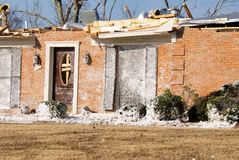 Tornado Destroyed Brick House with Insulation Debris and No Roof Stock Images