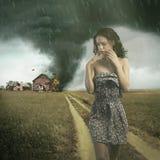 Tornado. Destroying a woman`s house Royalty Free Stock Photo