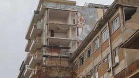 Tornado Devastation Ladispoli Italy. LADISPOLI, ITALY - NOVEMBER 6, 2016: Buildings devastated by the giant tornado which that hit the North of Rome and let two stock video