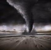 Tornado dramático de la playa Fotos de archivo libres de regalías