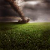Tornado en campo verde Imagenes de archivo