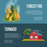 Tornado and forest fire banners. Stock Image
