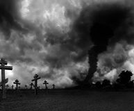 Tornado. Gloomy landscape with dead city, pollution Stock Image
