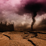 Tornado. Gloomy landscape with dead city, pollution Royalty Free Stock Photos