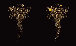 Tornado of golden flying bitcoins and gifts, black background. Vector Royalty Free Stock Images