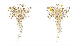 Tornado of golden flying  bitcoins and gifts. Vector Royalty Free Stock Photo