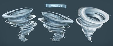 Tornado. Hurricane on a dark background. Vector icon set Royalty Free Stock Images
