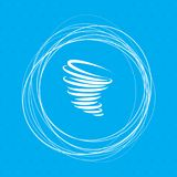 Tornado icon on a blue background with abstract circles around and place for your text. Illustration Royalty Free Stock Images