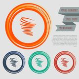 Tornado icon on the red, blue, green, orange buttons for your website and design with space text. Illustration Stock Photos