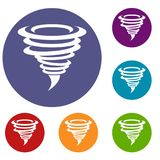 Tornado icons set. In flat circle reb, blue and green color for web Royalty Free Stock Photography