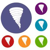 Tornado icons set. In flat circle reb, blue and green color for web Stock Photography
