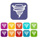 Tornado icons set. Vector illustration in flat style In colors red, blue, green and other Royalty Free Stock Images