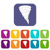 Tornado icons set. Vector illustration in flat style In colors red, blue, green and other Royalty Free Stock Photography