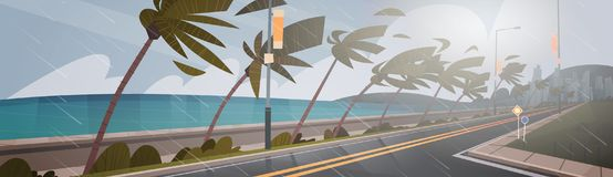 Free Tornado Incoming From Sea Hurricane In Ocean Huge Wind Over Palm Trees And Road Tropical Natural Disaster Concept Royalty Free Stock Photos - 99872628
